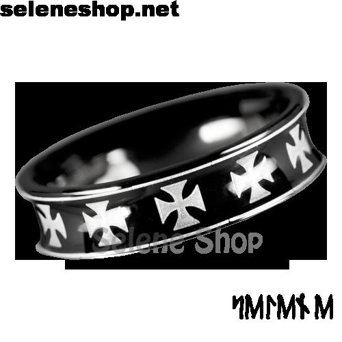 anello croci celtiche nero
