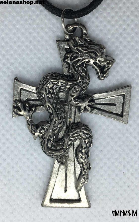 Ciondolo croce con drago