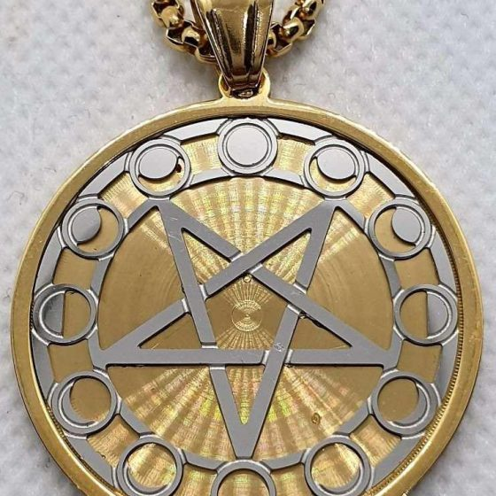 Ciondolo pentacolo rovesciato argento oro