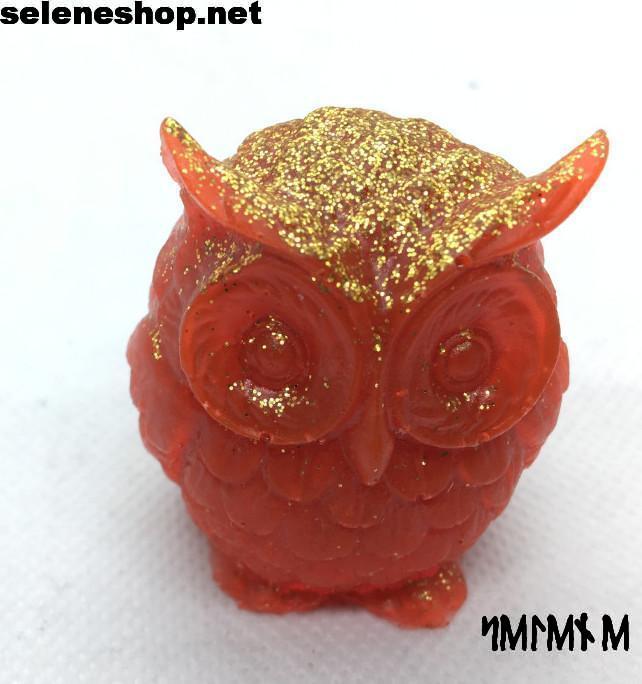 statuetta gufo rosso