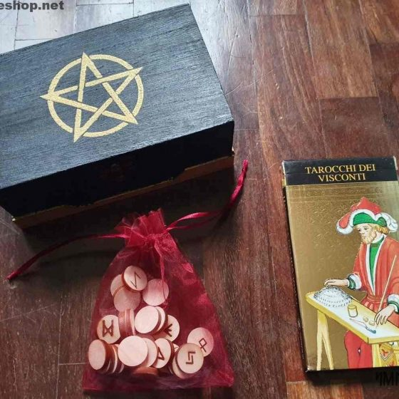 Box divinazione rune tarocchi Visconti d'orati pentacolo oro