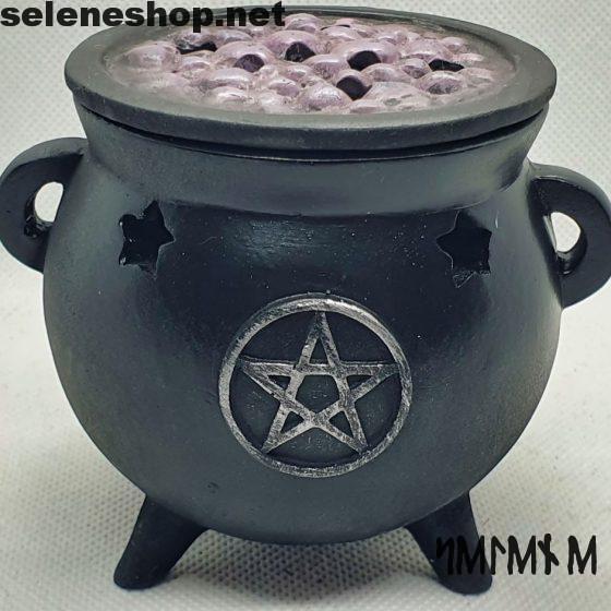 burning incense cauldron pentacle