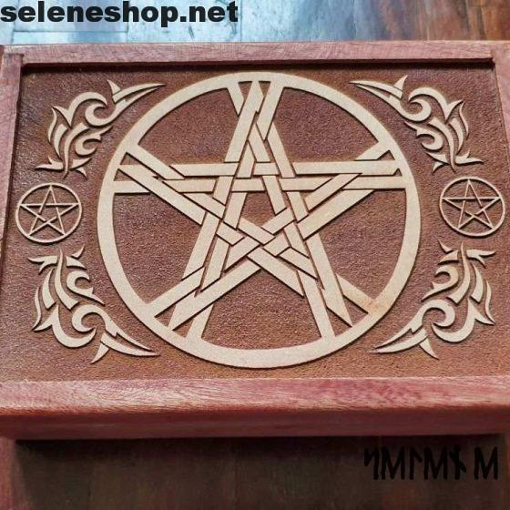 wooden carved pentacle box