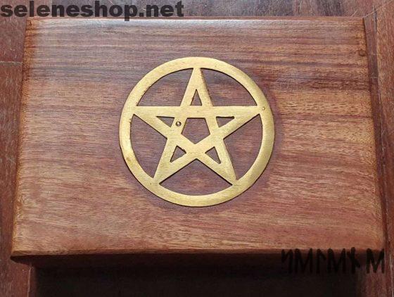 Scatola porta oggetti pentacolo in legno di noce