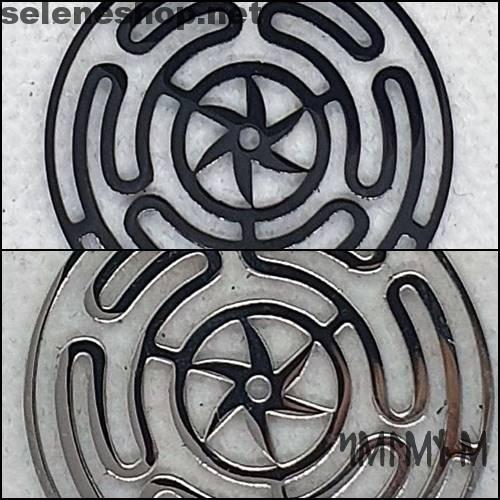 Ciondolo ruota di ecate - argento o nero