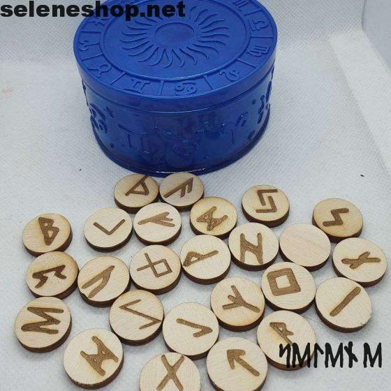 rune in legno scatola in resina blu