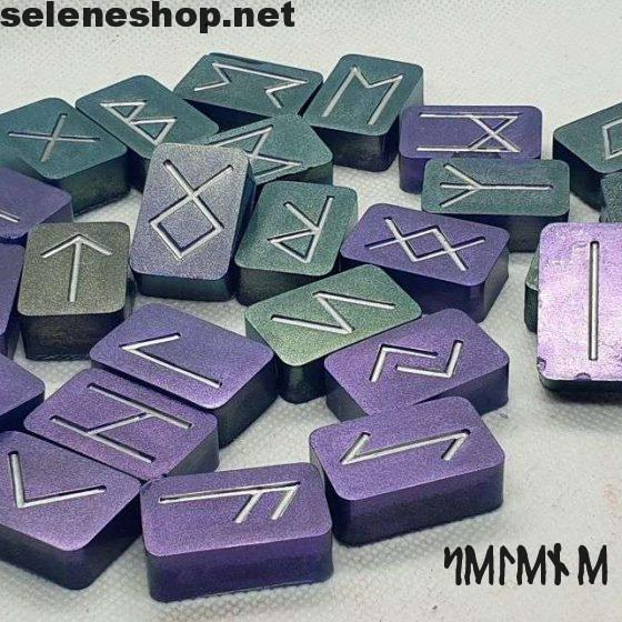 purple metallic runes